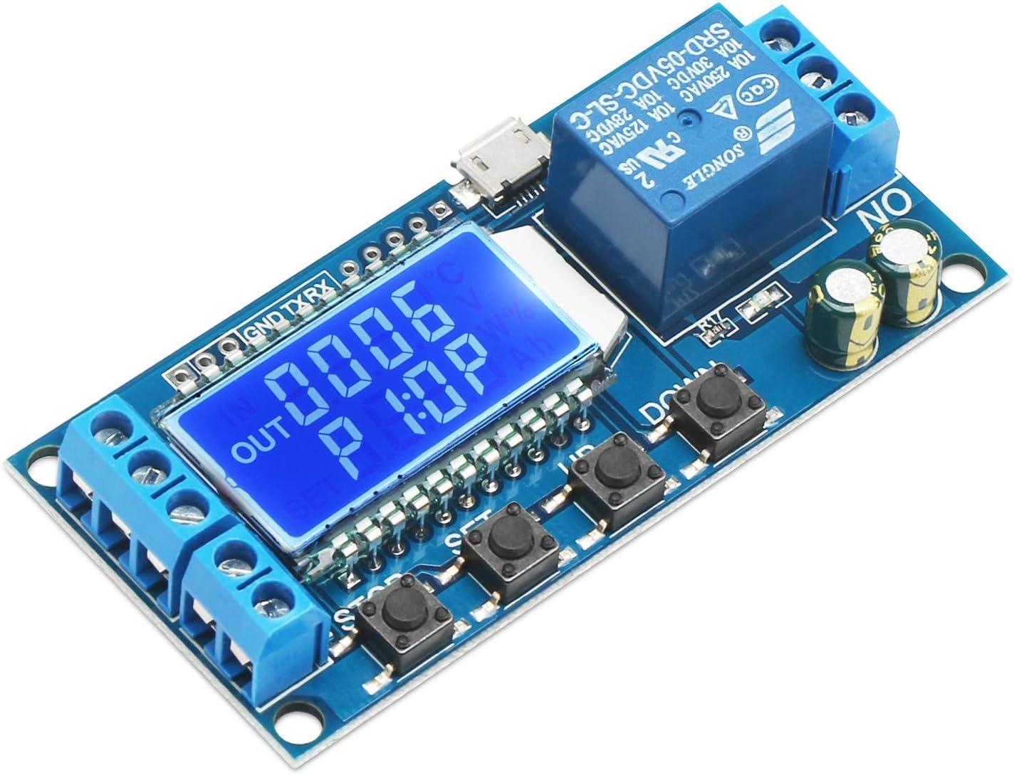 ARCELI Relé de retardo de Tiempo, DROK 5V 12V 24V Controlador de retardo Temporizador de Ciclo de retardo de Apagado