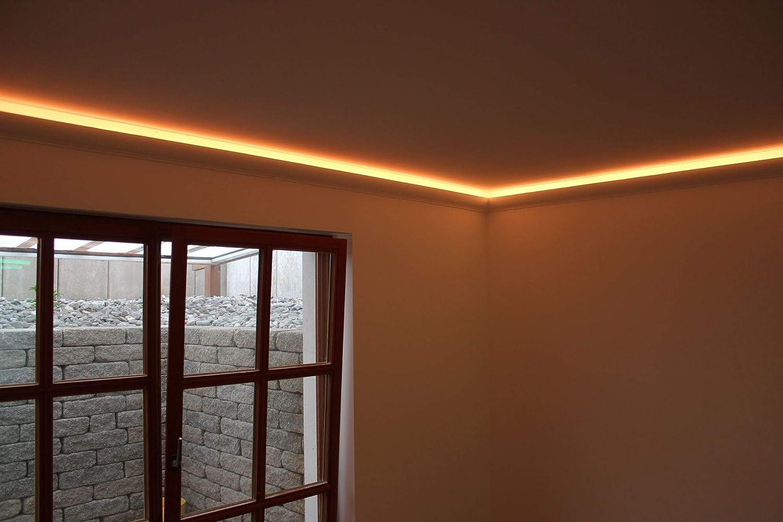 Hexim Iluminaci/ón indirecta con listones de techo modernos Listones de estuco LED de poliuretano 17 ledes de 80 x 200 mm ligera y resistente a los golpes - opaco