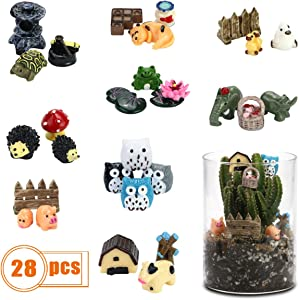 Fireboomoon 28 PCS Miniature Garden Ornaments,Mini Resin Fairy Garden Animals for Dollhouse Decoration,Birthday Party,Kids Presents Toys,DIY Plant Pot Flower Pot Succulent Decoration