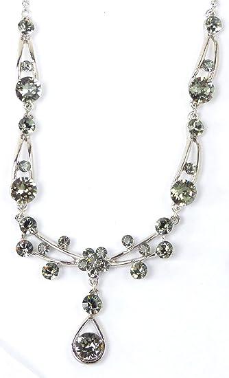 Luxury Swarovski Crystal Necklace Black Diamond – Grey Women s Necklace  Neck Chain Necklace with Swarovski Crystals 0f3a22f3f