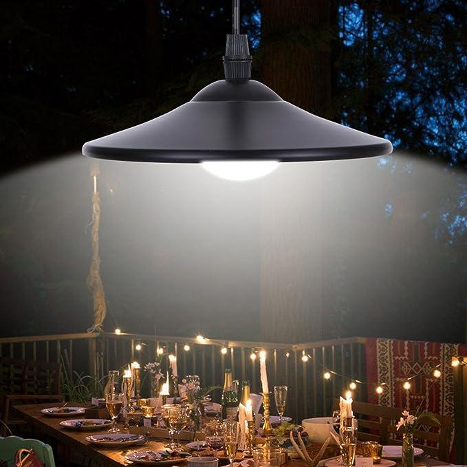 Solalite Lámpara de techo con energía solar para exteriores, lámpara colgante de cobertizo con mando a distancia para jardín, patio, balcón, hogar, ...