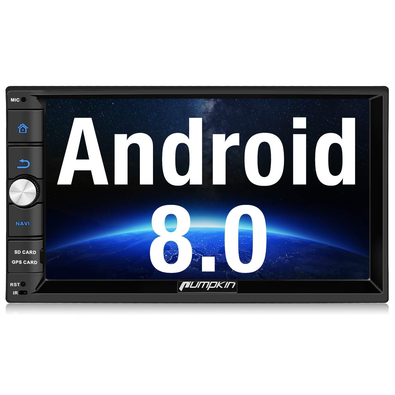 PUMPKIN Android 8.0 Car Stereo Radio Double Din with GPS Navigation, WiFi, Android Auto, Support Fastboot, Backup Camera, AUX, USB/SD, 7 inch Touch Screen