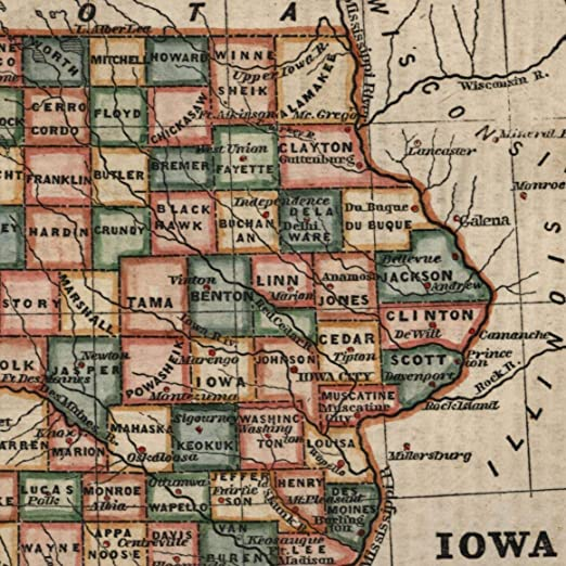 Old Iowa Map.Amazon Com Iowa State By Itself 1854 Antique U S State Map Old