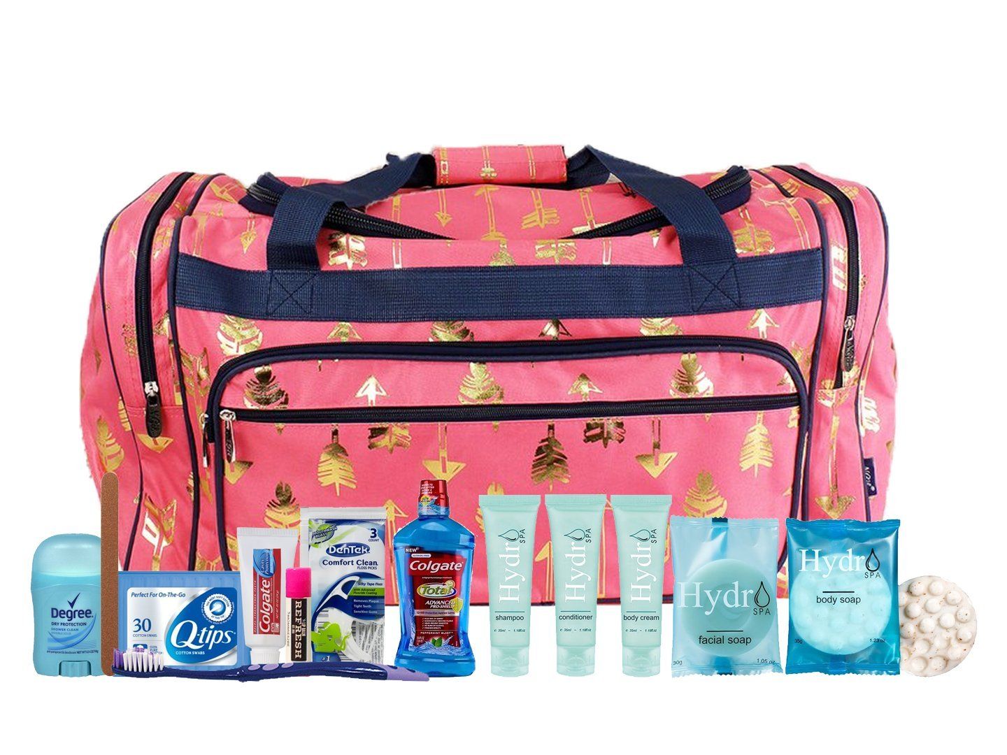 Pre-packed Toiletry Bag Arrow Gold Coral Navy M2B Maternity Hospital Labor Duffle Bag For Birth