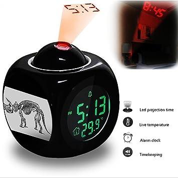 Alarma de proyección reloj despertador dormitorio con datos y temperatura pantalla Talking función, LED de pared/techo de proyección, dinosaur-231.338 _ ...