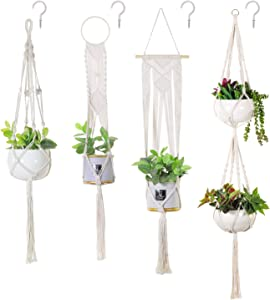 Soonow Macrame Plant Hangers, Hanging Planters for Indoor Plants with Hooks Home Decor, Set of 4