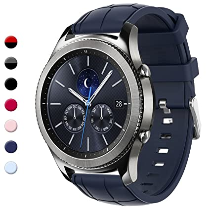 Gear S3 Bands, 22mm Silicone Sport Wristbands Watch Strap Quick Release Replacement Bracelet with Metal Clasp for Samsung Gear S3 Frontier/S3 Classic ...