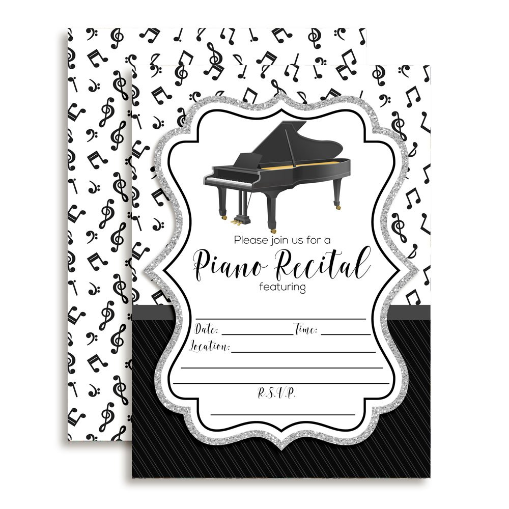 Amanda Creation Piano Recital Fill in Style Invitations. Set of 20 Including envelopes