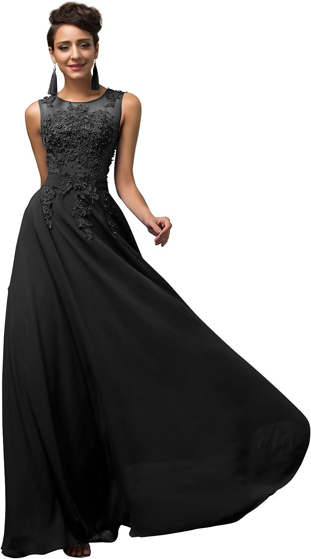 TALLA 32. GRACE KARIN Vestido Elegante para Boda Ceremonia De Vuelo Encaje Floral Precioso Maxi Negro 32