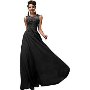 6f1f996bf90 GRACE KARIN Damen Bodenlang Abendkleid Chiffon Standesamtkleid Spitze  Ärmelloskleid CL7555