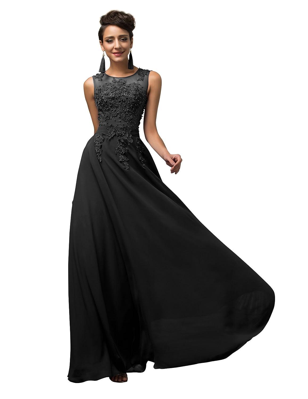 TALLA 36. GRACE KARIN Vestido Elegante para Boda Ceremonia De Vuelo Encaje Floral Precioso Maxi Negro 36
