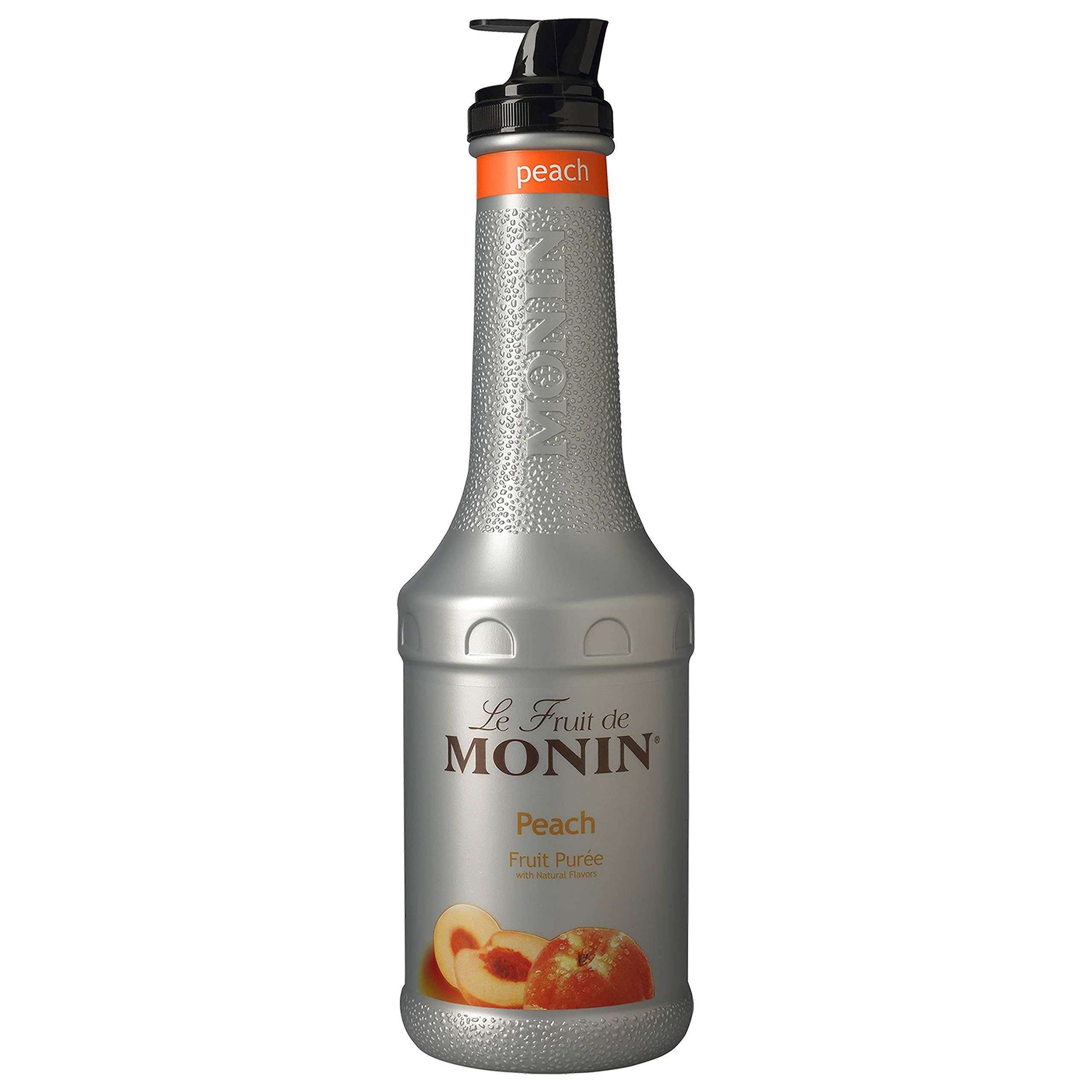 Monin Fruit Puree, Peach, 33.8-Ounce Bottles (Pack of 4)