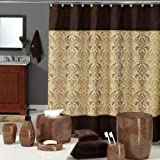 DS BATH Sterling Brown Shower Curtain,Chocolate Polyester Fabric Shower Curtain,Vintage Shower Curtains for Bathroom,Damask B