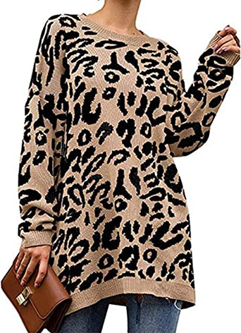 Yidarton Womens Casual Leopard Print Crew Neck Long Sleeve Camouflage Knitted Tops Oversized Pullover Sweaters