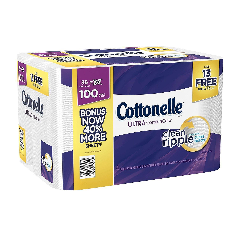 Cottonelle Ultra ComfortCare Family Roll Plus Toilet Paper, Bath Tissue, 36 Toilet Paper Rolls