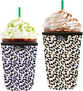 WKieason Reusable Iced Coffee Cup Insulator Sleeve for Cold Beverages and Neoprene Cold Coffee Cup Sleeve Cooler Cover 16-24OZ for Starbucks Coffee, McDonalds, Dunkin Donuts, More (Leo print)