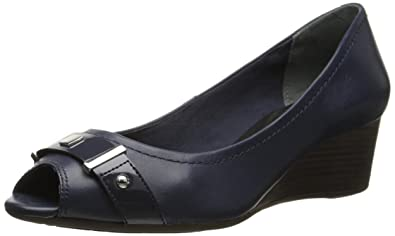 Rockport Women's Total Motion 45 millimeter Peep Wedge Pump, Deep Ocean  Nappa/Patent,