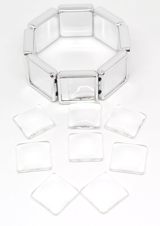 30cd8f11ba64 2 de plata pulseras del estiramiento cuadrada y piedras de cristal cuentas  de vidrio cabujón (