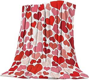 Singingin Super Soft Cozy Bed Fleece Blanket Throw Valentine's Day Love Dark Red Pink Heart 39×49inch Fuzzy Plush Lightweight Couch Blankets Microfiber Provides Comfort and Warm All Season