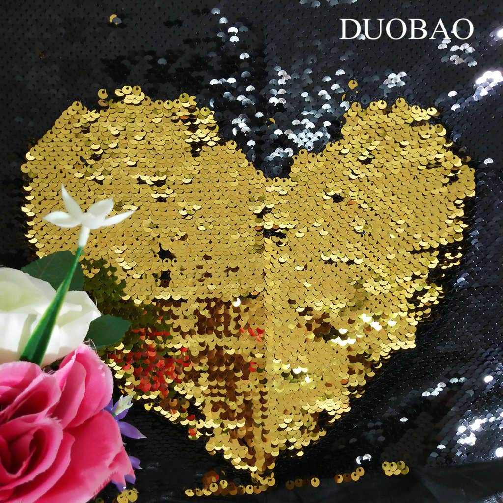 DUOBAO Sequin Fabric by The Yard Black to Gold 10 Yards Mermaid Fish Scale Sequin Fabric Flip Sequins Fabric for Sewing
