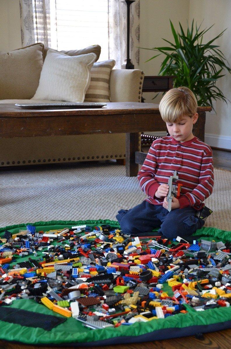 Eshowy Aufbewahrungstasche & Spielmatte in Einem: Aufbewahrungsbeutel, 150 cm groß, tragbar, für Kinderspielzeug, schnelles Aufräumen, kann leicht in eine Schultertasche gefaltet werden, grün 150 cm groß für Kinderspielzeug schnelles Aufr&a