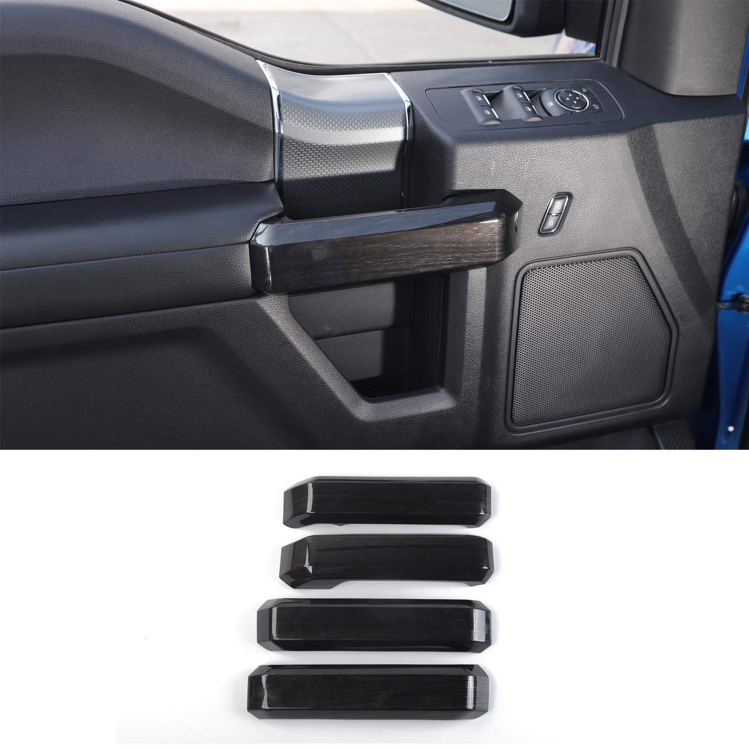 Voodonala Black Grain Side Dashboard Panel Outlet Vent Covers Trim for Ford F150 2015 2016 2017