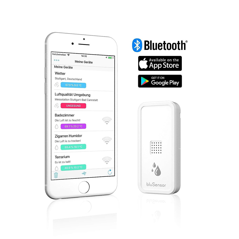 blusensor Air - Bluetooth de higrómetro termómetro para iPhone y Android - Sensor de humedad de alta precisión para humidor, sótano, moho, vino Sótano, ...