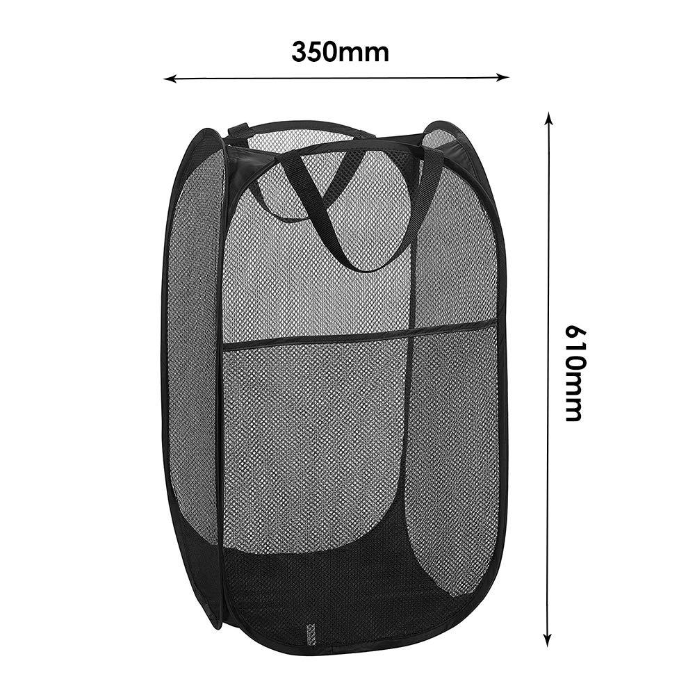 Black WD/&CD 2PCS Laundry Baskets Foldable Pop Up Mesh Washing Laundry Basket Bag Bin Hamper Toy Tidy Storage Organiser Organizer