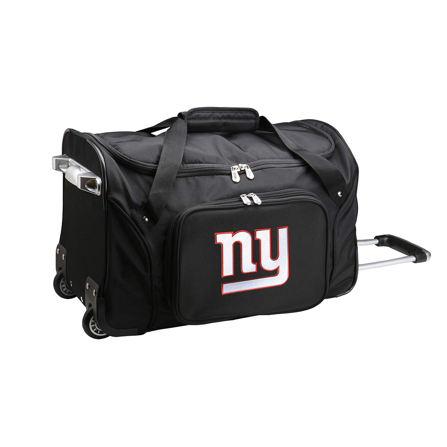 NFL New York Giants Wheeled Duffle Bag, 22 x 12 x 5.5, Black by Denco