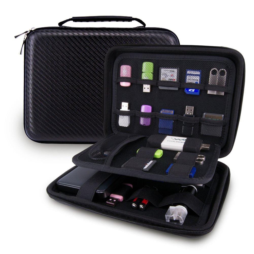 Elvam EVA Shockproof Waterproof Portable Hard Drive Case Bag/Cable Case Bag/USB Flash Drive Case Bag/Power Bank Case Bag/GPS Case and Digital Camera Case - Large Classic