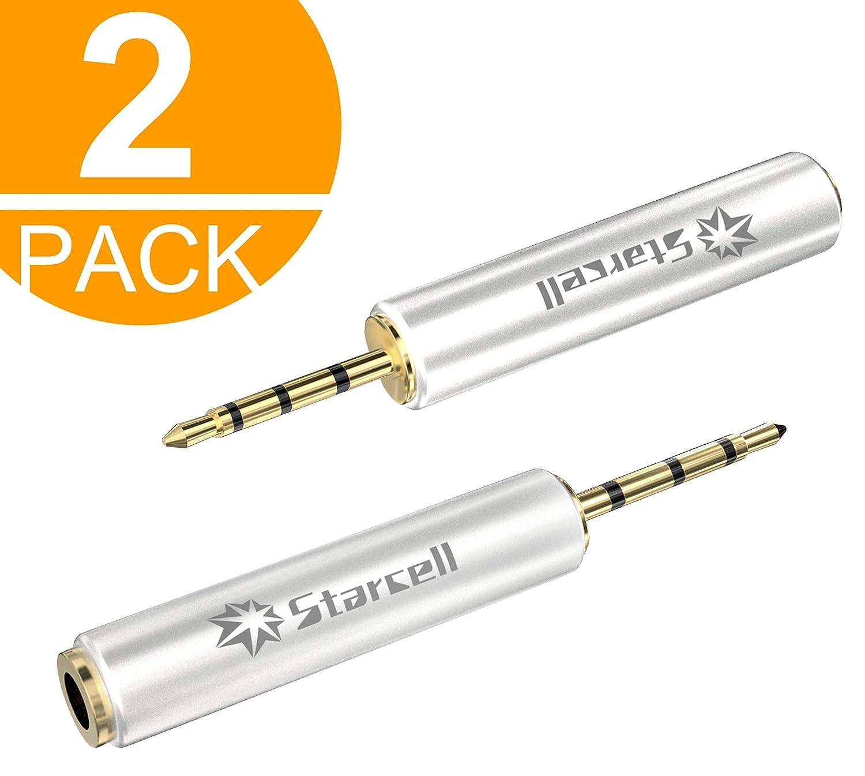 Legge 2pezzi oro 2.5mm maschio a 3.5mm femmina convertitore adattatore per cuffie audio stereo jack Act