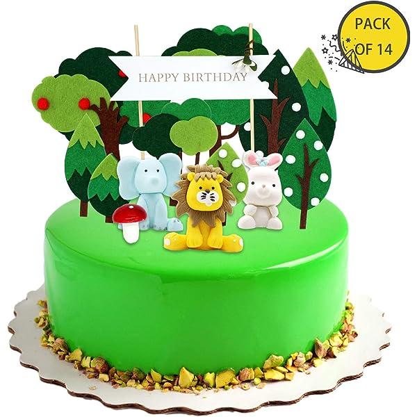 Coolba 【36 Piezas】 Animales Cupcake Toppers, Feliz ...