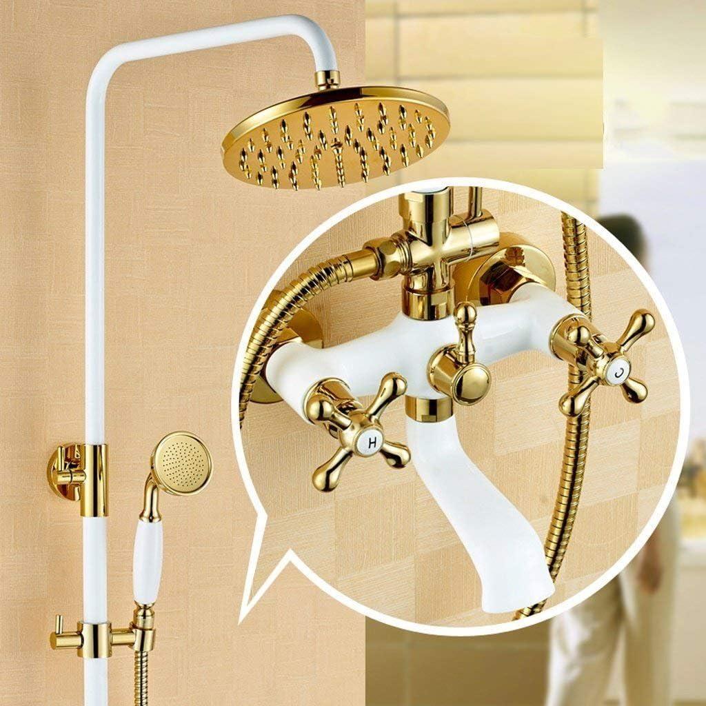 WW Conjunto de ducha Conjunto de ducha de baño Al horno BAI Linterna Ducha Conjunto de ducha de cobre europeo BAI Plus Conjunto de ducha de oro, Faucet: Amazon.es: Deportes y aire