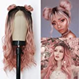 Friya Hair Dark Rooted Ombre Pink 2 Tone color Lace Front Wigs Long Deep Curly Loose Wave Wig Synthetic Heat Resistant…