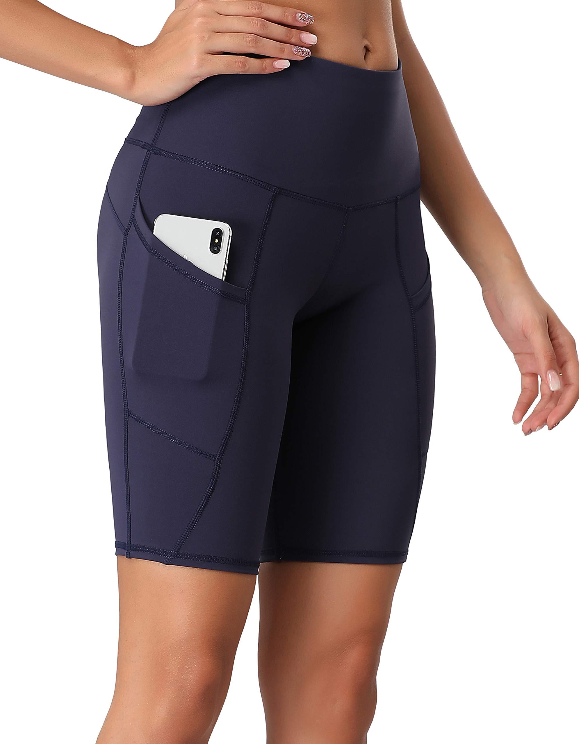 Oalka Women's Short Yoga Side Pockets High Waist Workout Running Shorts Navy Blue XL by Oalka