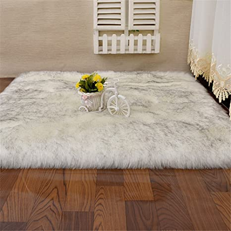 Amazon.com: Soft Silky Fluffy Shag Faux Sheepskin Area Rug ...