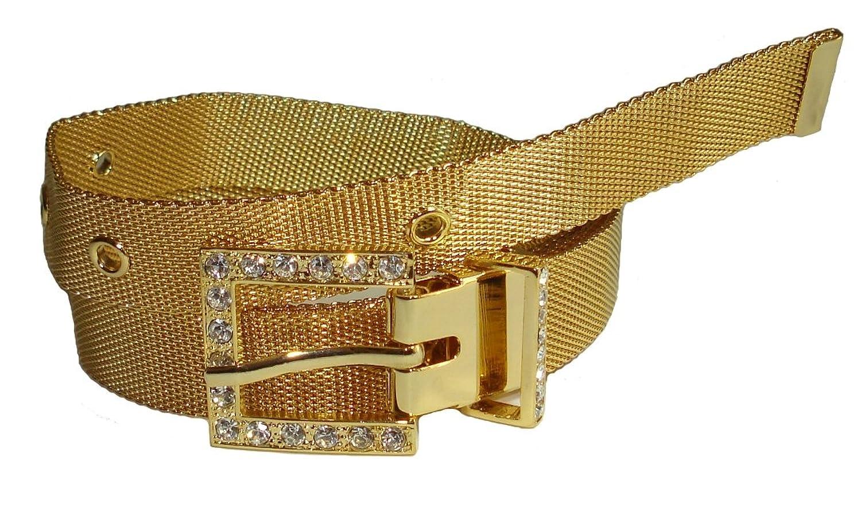 BeltsandStuds Lady Soft Metal Gold Mesh Strap Belt With Crystal Rhinestone Buckle