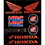 Red isbridge Replacement Fit For Motorcycle Circle 3D Wing ABS Fuel Gas Tank Badge Emblem Decal Sticker For Honda 49mm