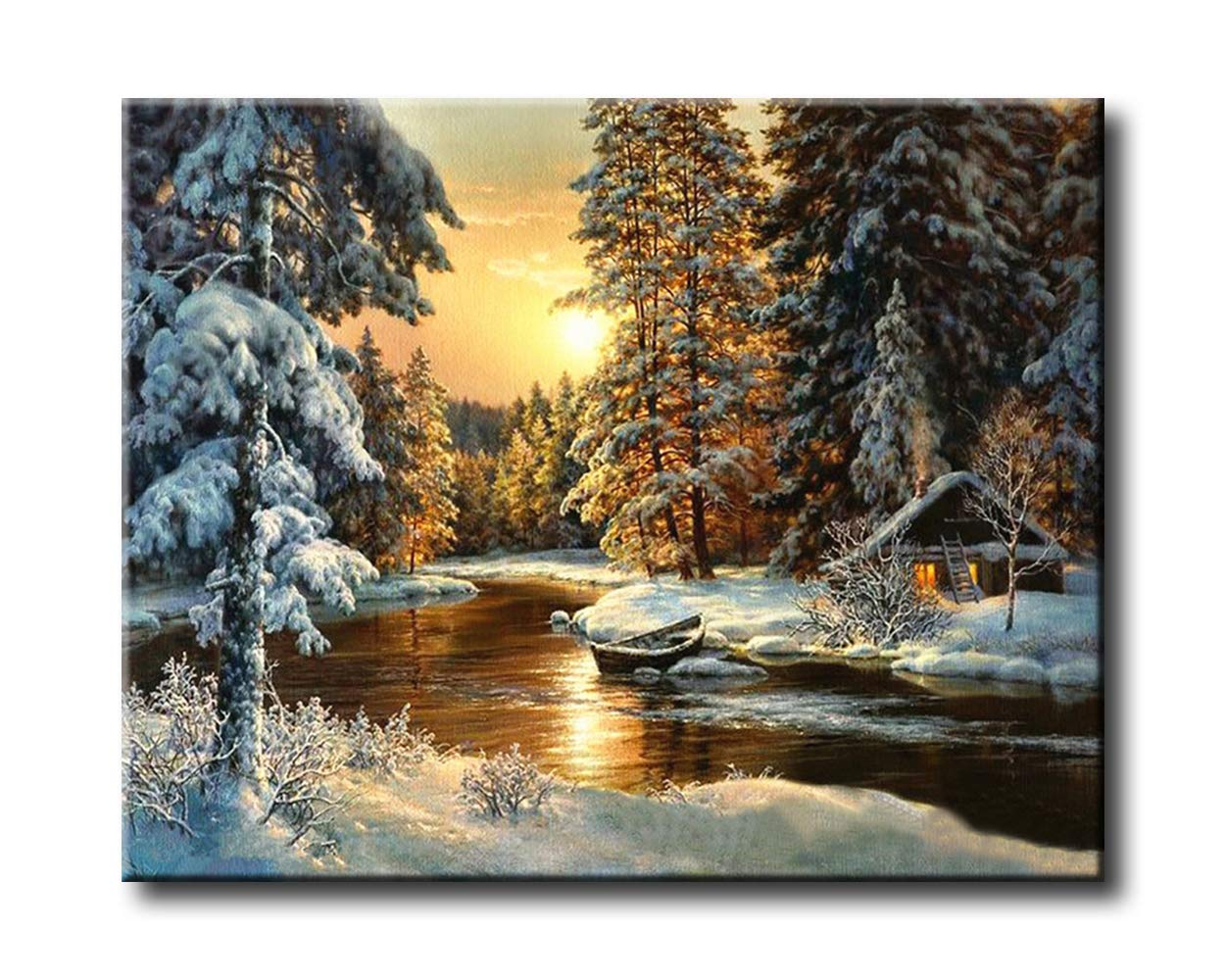 Shukqueen Diy Oil Painting Acrylic Painting-Snow Cabin in the Sunset 16X20 Inch Frameless Adults Paint by Number Kits
