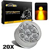 """Partsam 20) 2in. Round Side Marker LED Truck Lights Clearance 9 Diodes Reflector Trailer, Sealed Clear/Amber 2"""" Round LED Trailer Side Marker Lights, Miro-Reflex faceted reflector design"""