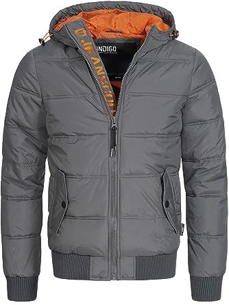 INDICODE Hombre Chaquetas con capucha De Abrigo De Invierno Chaqueta Acolchada Jacket Mens Coat Adrian 5061 Negro Azul Gris Naranja S M L XL XXL: Amazon.es: ...