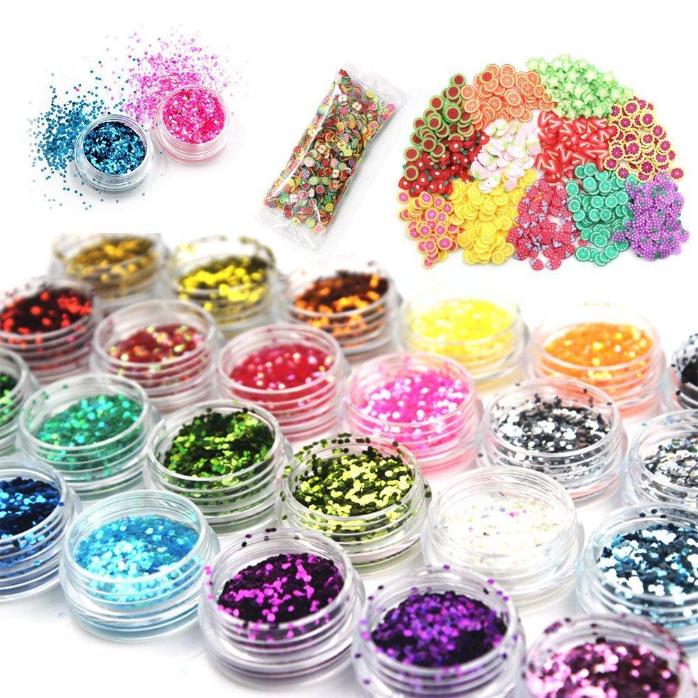 Laconile 24couleurs Slime Paillettes Paillettes avec 1000pièces tranches de fruits pour la décoration de Sparkling Paillettes DIY Jouets