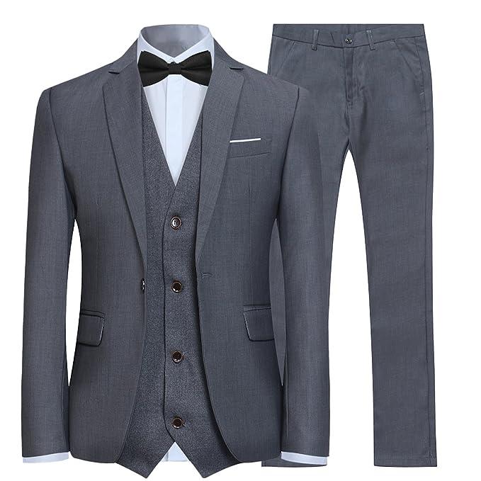 Trajes para Hombre 3 Piezas Slim Fit Boda Esmoquin Formal Un botón Cerrar Blazers Chaqueta Chaleco Pantalones