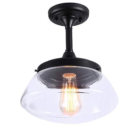 Lightsjoy Suspension Luminaire Industriel En Verre Lampe De Plafond Lustre Plafonnier Abat Jour Transparent Pour Chambre Salon Salle à Manger Douile