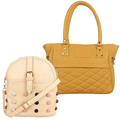 f2eb02976f Fillincart Women Beige Colour PU Material Pack of 1 Sling Bag and 1 Hand Bag   Amazon.in  Shoes   Handbags