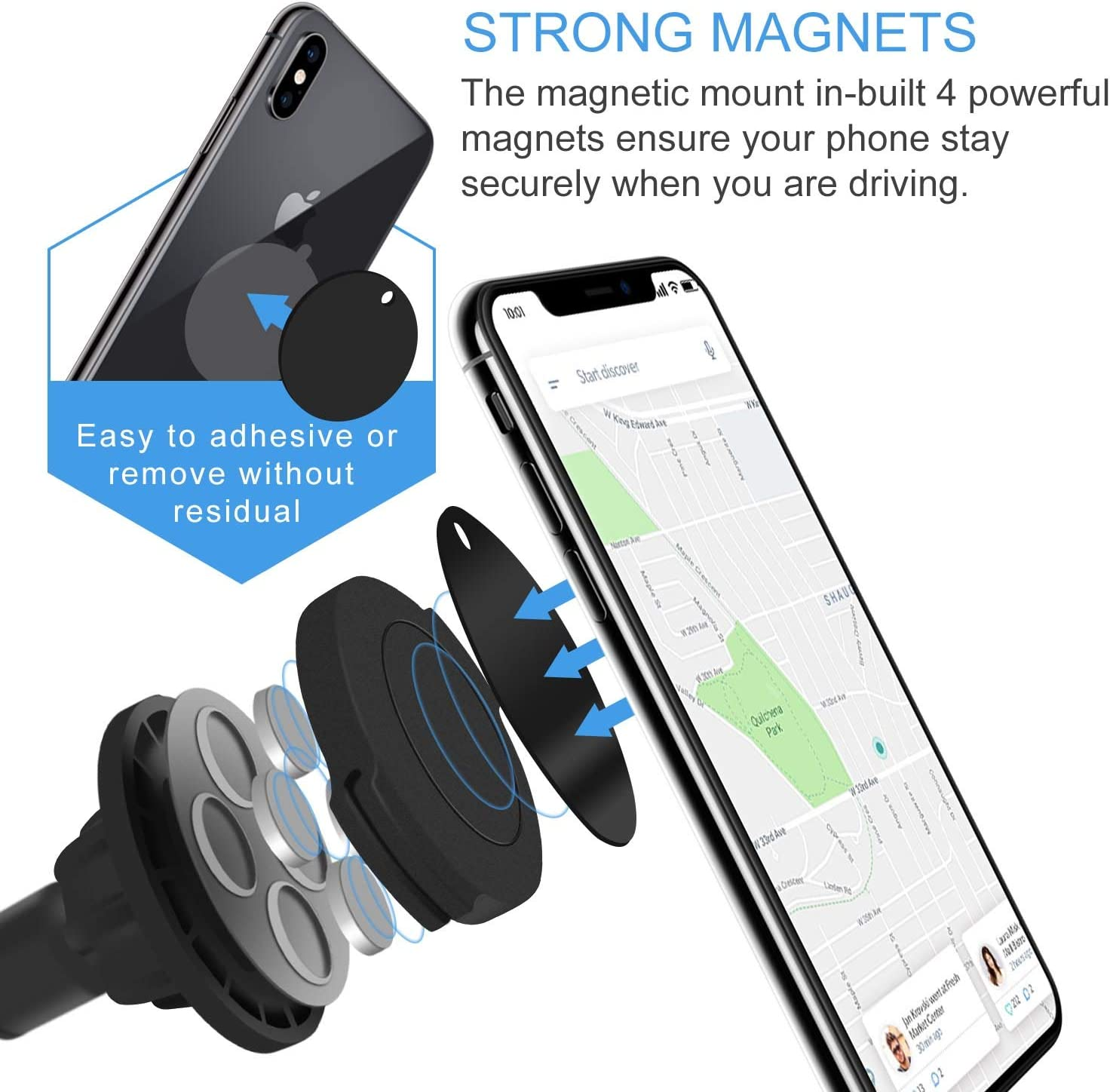 Note10 9 8 Black Samsung Galaxy S10 S9 S8 Plus IFCASE Long Arm Strong Magnet Car Windshield Dashboard Universal Magnetic Cradle Cell Phone Mount Holder for iPhone Xs Max XR X 6 6s 7 8