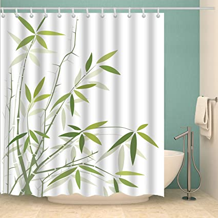 BROSHAN Washable Shower Curtain Bamboo Fresh Leaf Spring Summer Asian Nature Plant Fabric Bath