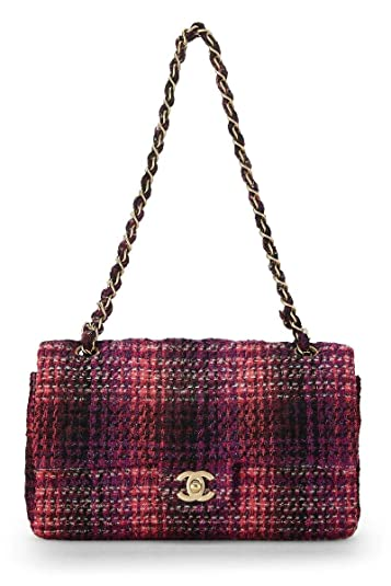82bc42dd1 Image Unavailable. Image not available for. Color: CHANEL Purple Quilted  Tweed Classic Double Flap Medium (Pre-Owned)