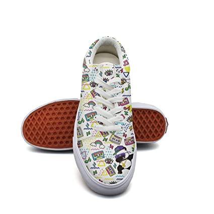 7ad8edc55cd Image Unavailable. Image not available for. Color  Milner Gilese Dabbing  Panda Rainbow Print Sneaker Flat Canvas Shoes ...
