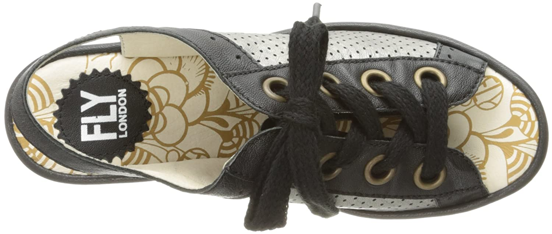 FLY London Women's Yuta617fly Platform Sandal B01MDKKRLR 39 EU/8-8.5 M US|Black/Lead Mousse/Borgogna
